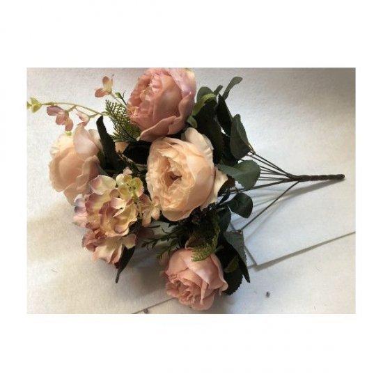 """Flori Artificiale Buchet 6 Trandafiri 2 Hortensii si 3Fire Flori Cu Feriga Roz Prafuit"""" Cu Roz"""""""