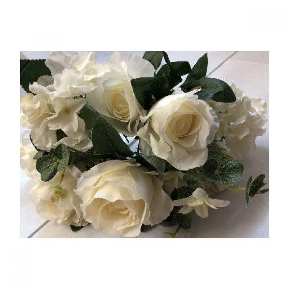 Flori Artificiale Buchet 6 Trandafiri 5 Hortensii Alb