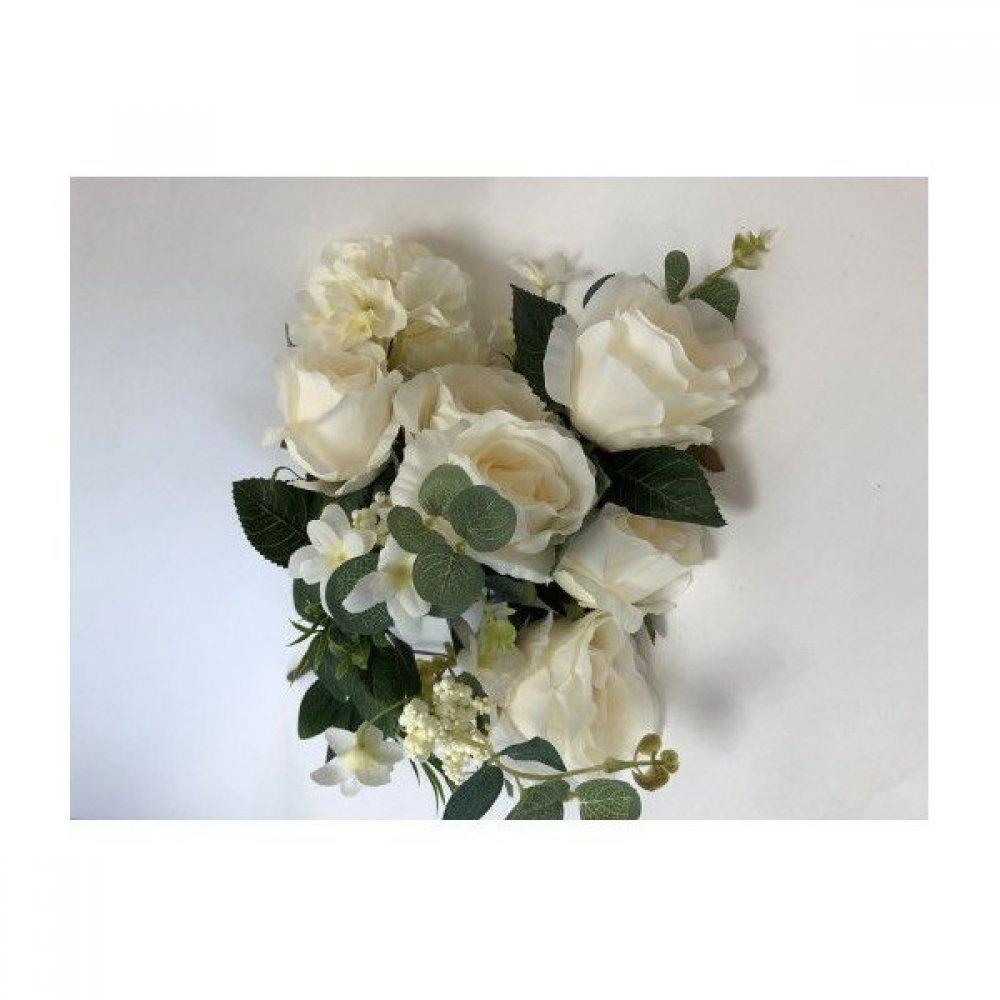 Flori Artificiale Buchet 6 Trandafiri Cu 2 Hortensie Si 3Fire Flori Crem