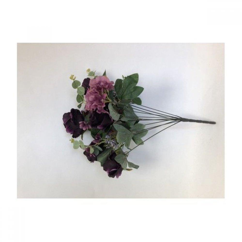 Flori Artificiale Buchet 6 Trandafiri Cu 2 Hortensie Si 3Fire Flori Mov