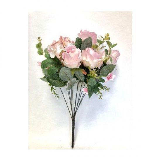 Flori Artificiale Buchet 6 Trandafiri Cu 2 Hortensie Si 3Fire Flori Roz Prafuit