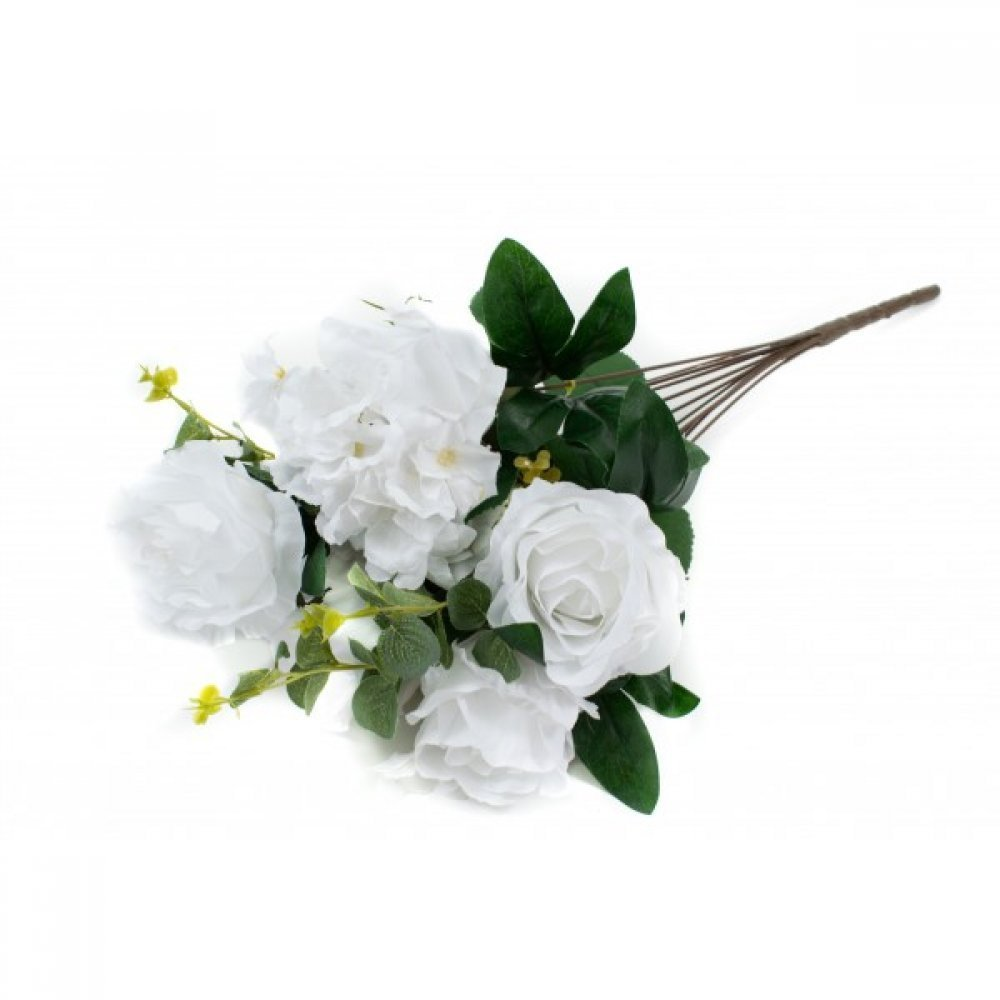 Flori Artificiale Buchet 6 Trandafiri Cu 2 Hortensii Alb