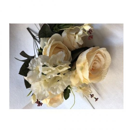 Flori Artificiale Buchet 6Trandafiri Cu 2Hortensii Si 3Fire Flori Crem