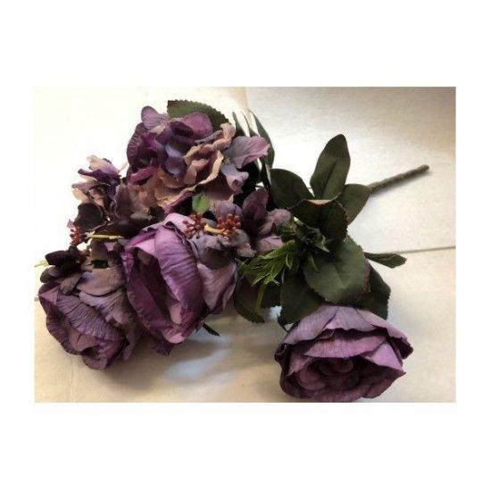 Flori Artificiale Buchet 6Trandafiri Cu 2Hortensii Si 3Fire Flori Mov