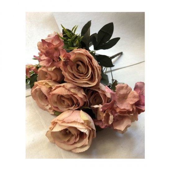 Flori Artificiale Buchet 6trandafiri cu 2hortensii si 3fire flori Roz- bej