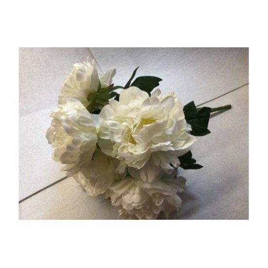 Flori Artificiale Buchet 7 Bujori Alb