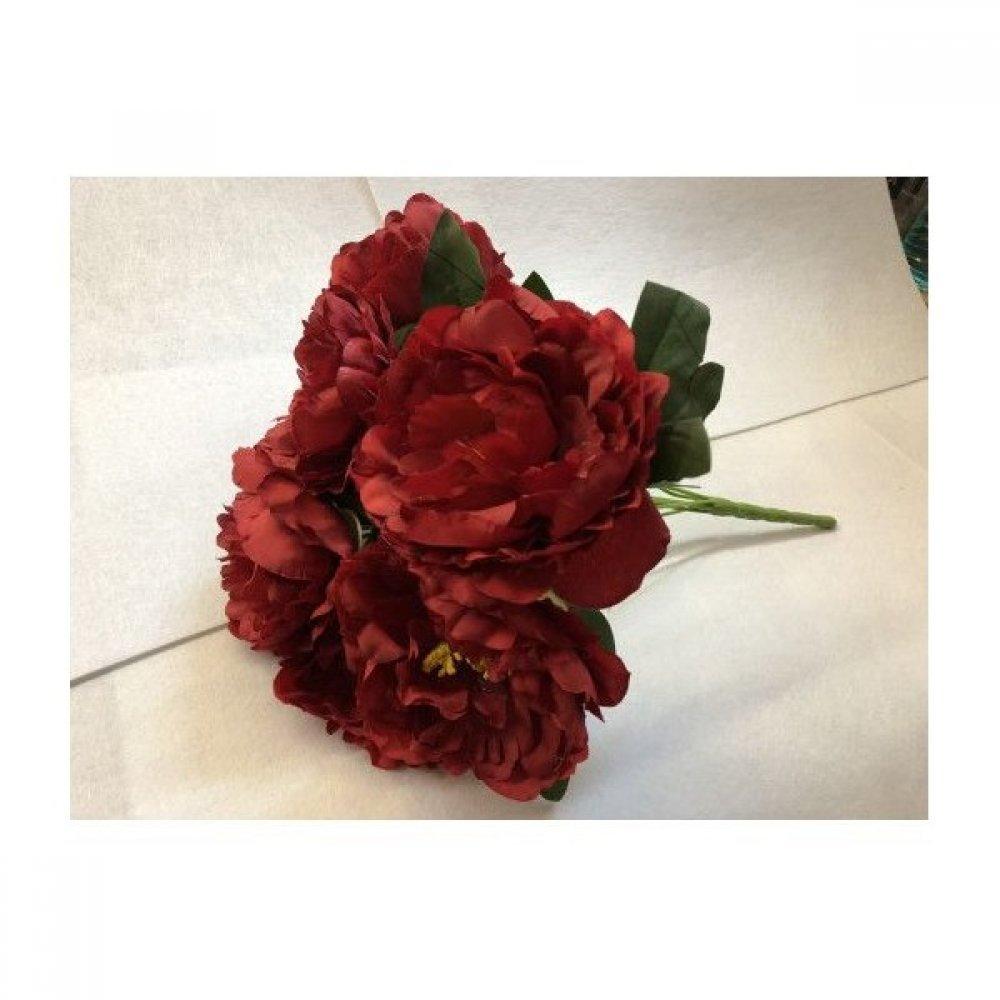 Flori Artificiale Buchet 7 Bujori Rosu Inchis