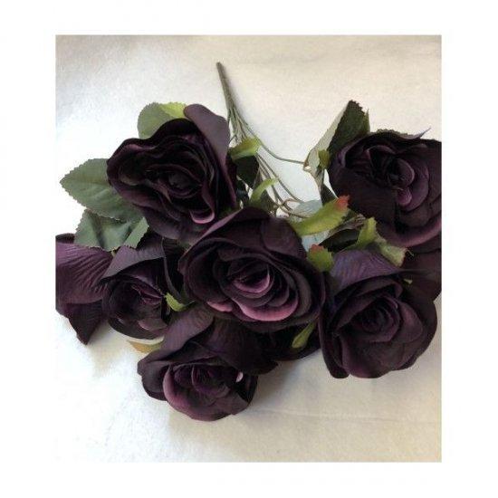 Flori Artificiale Buchet 9 Trandafiri Mov Imperial