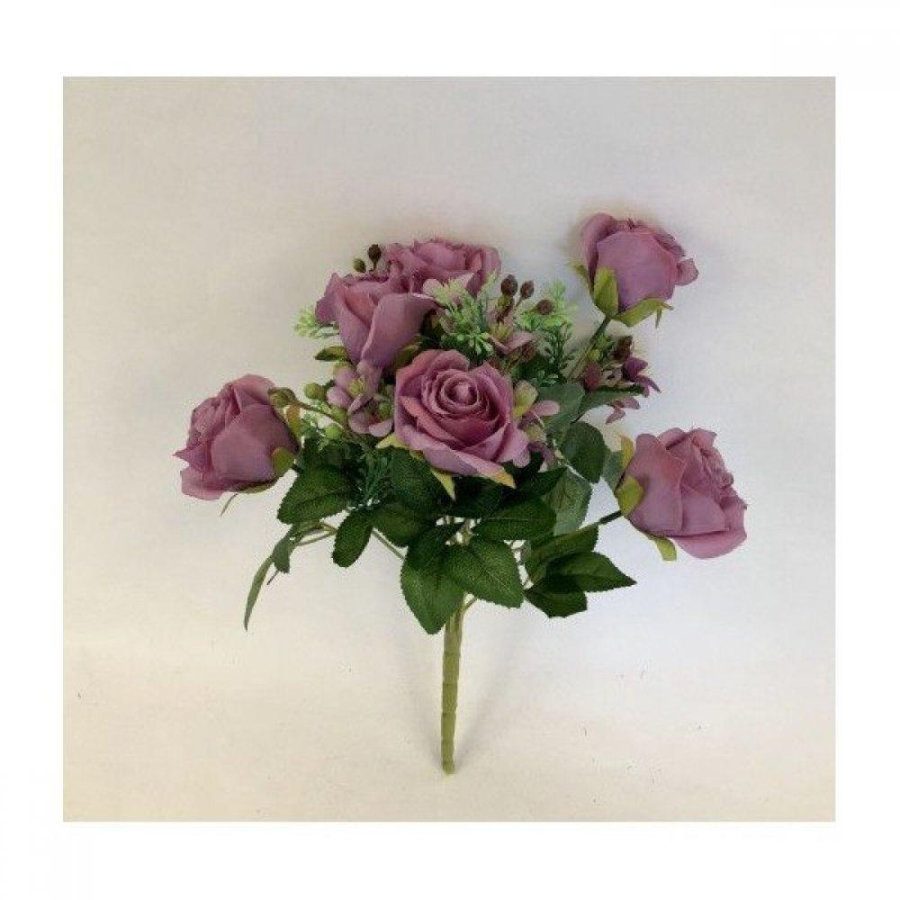 Flori Artificiale Buchet Boboci Trandafiri cu Bobite Mov