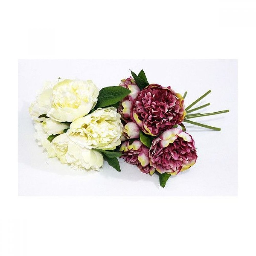 Flori Artificiale Buchet Bujori Legati Alb-Crem