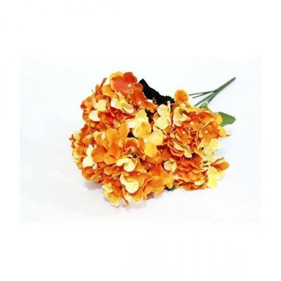 Flori Artificiale Buchet Hortensie 7 Flori Portocaliu