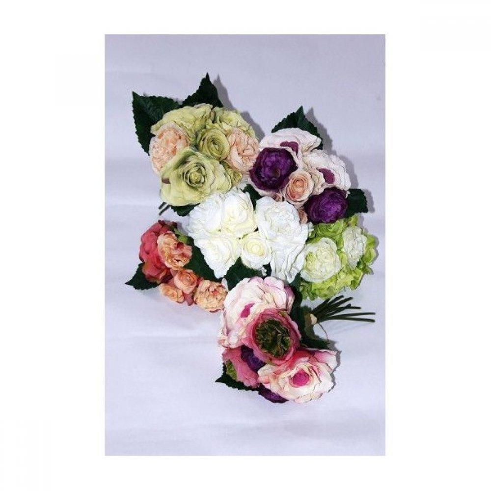 Flori Artificiale Buchet de Trandafir Cu Bujor