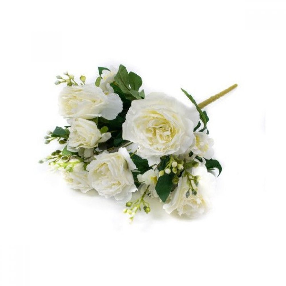 Flori Artificiale Buchet Trandafiri Bobite Albe