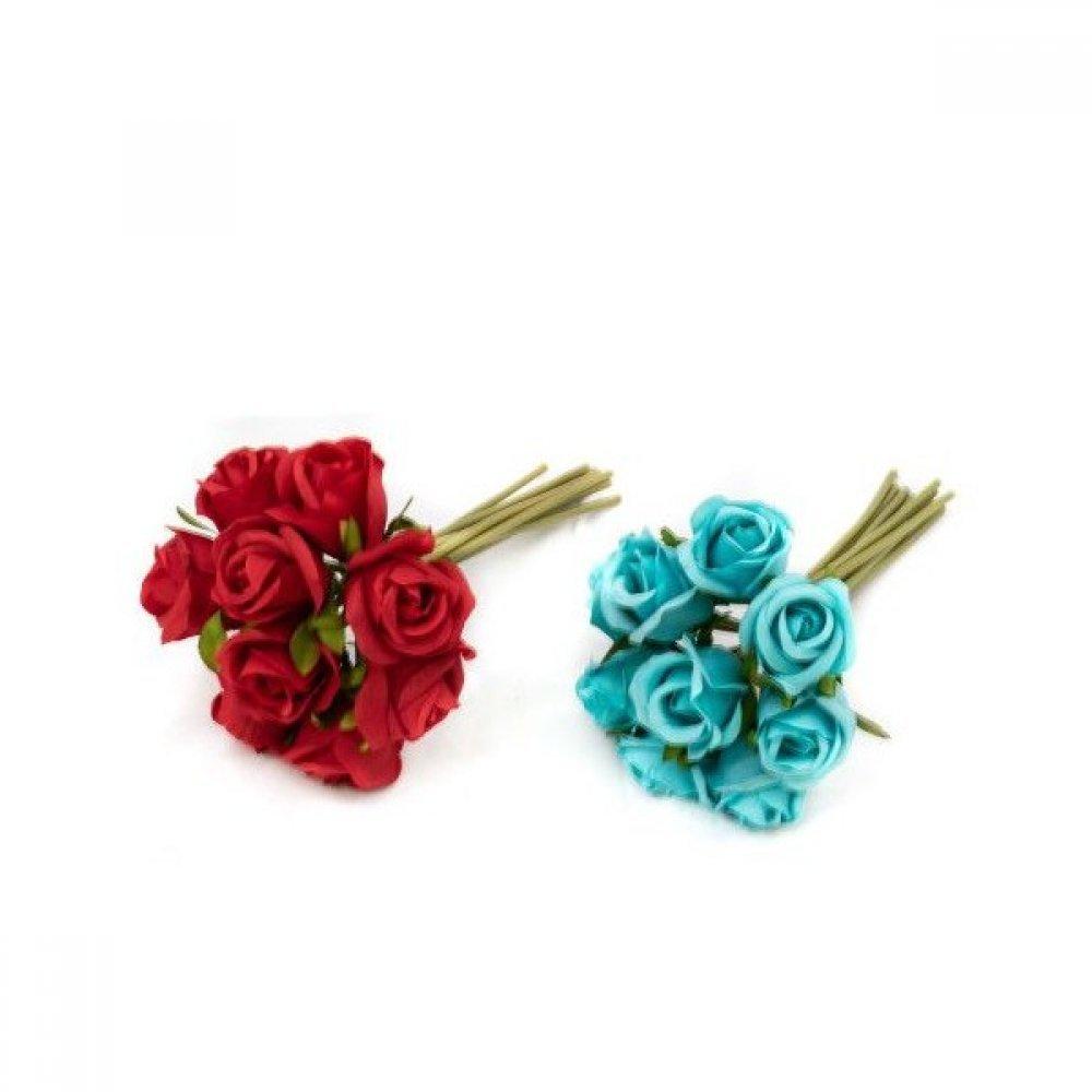 Flori Artificiale Buchet cu 9 Trandafiri Rosu si Bleo