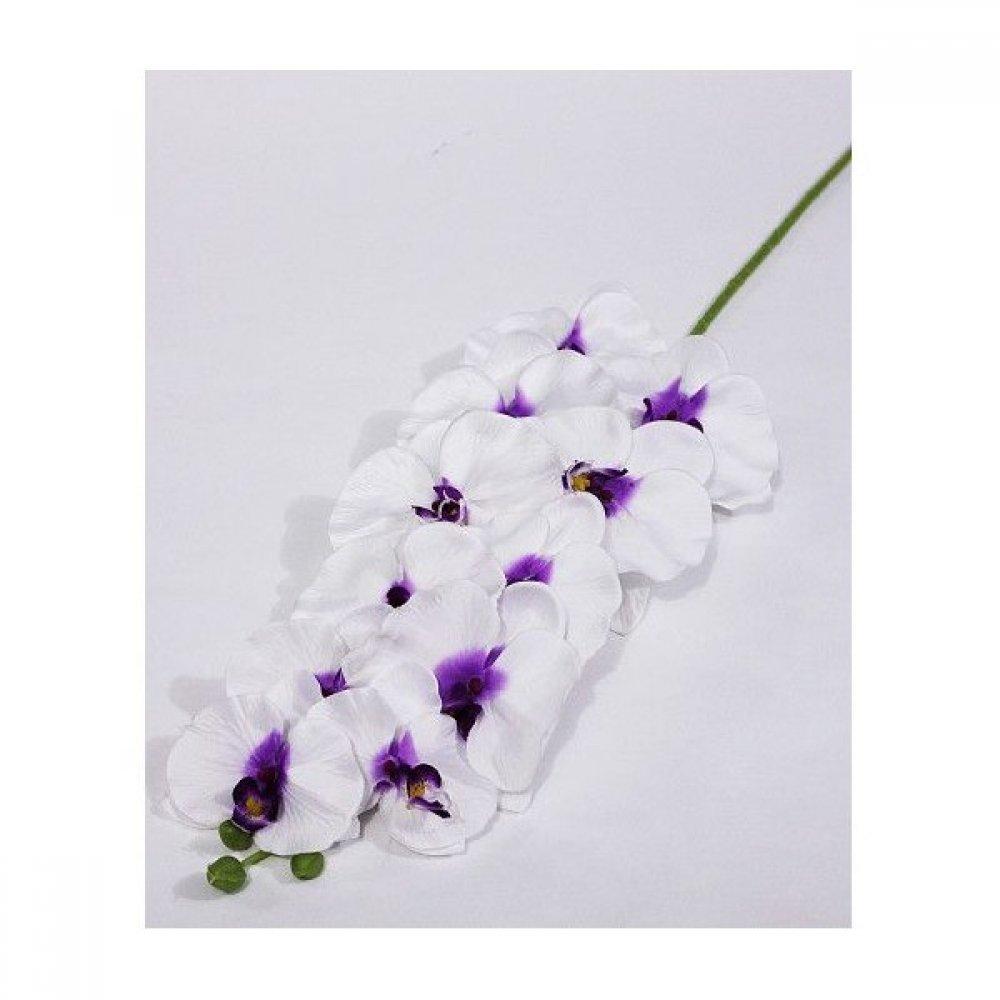 Flori Artificiale Fir de Orhidee Alba Cu Mov