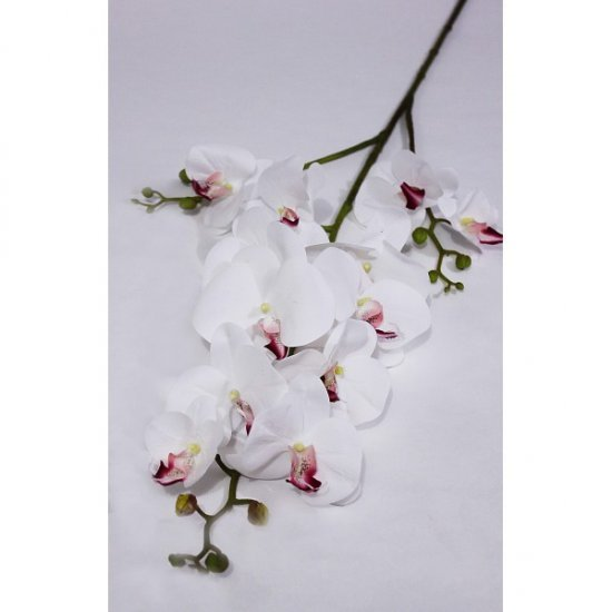 Flori Artificiale Orhidee Cu 3 Crengute Alba Cu Grena