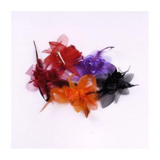 Flori Artificiale Textil cu Pene 2 boboci trandafiri