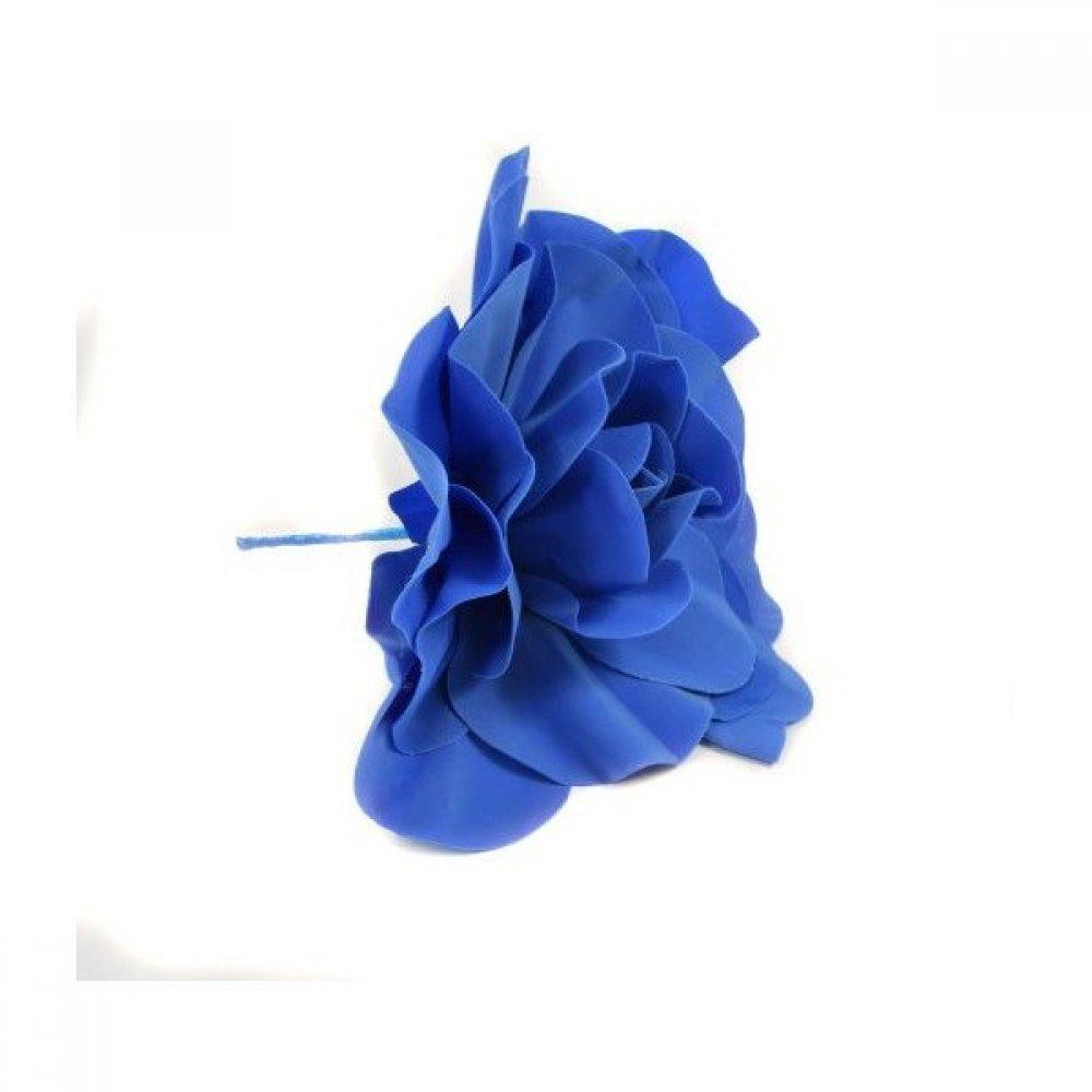 Flori Artificiale Trandafir Latex 30cm Albastru