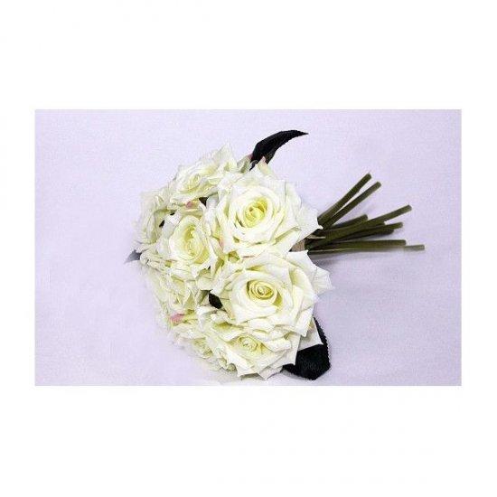 Flori Artificiale Trandafiri Legati 10 Fire Alb Verzui