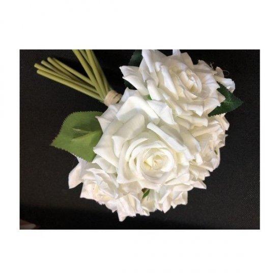 Flori Artificiale Trandafiri Legati 10 Fire Albi