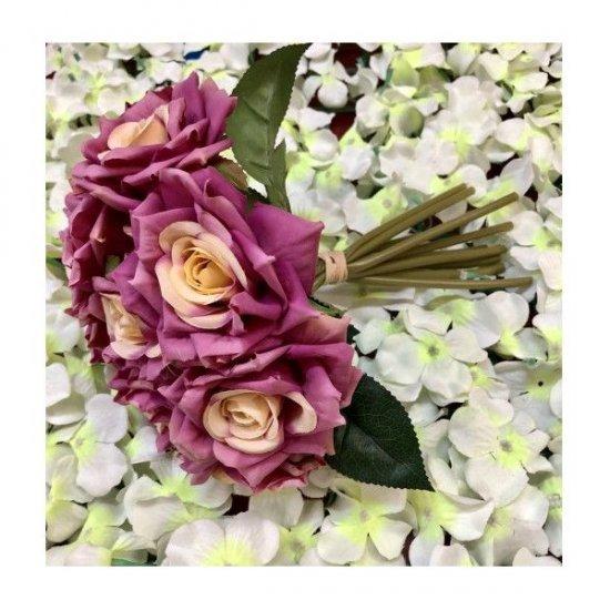 Flori Artificiale Trandafiri Legati 10 Fire Mov- Crem
