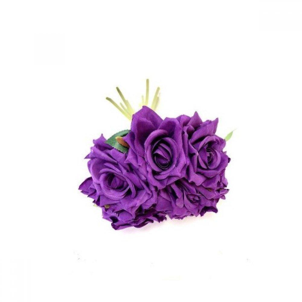 Flori Artificiale Trandafiri Legati 10 Fire Mov Inchis