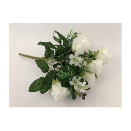 Flori Artificilale Buchet Boboci Trandafiri Cu Bobite Alb