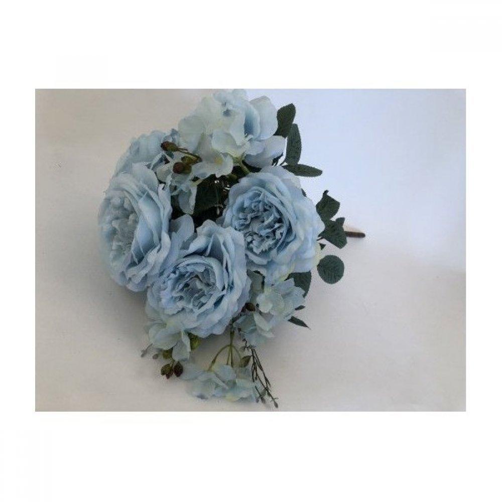 Flori artificiale Buchet 7 Trandafiri Cu 4 Hortensii Bleo