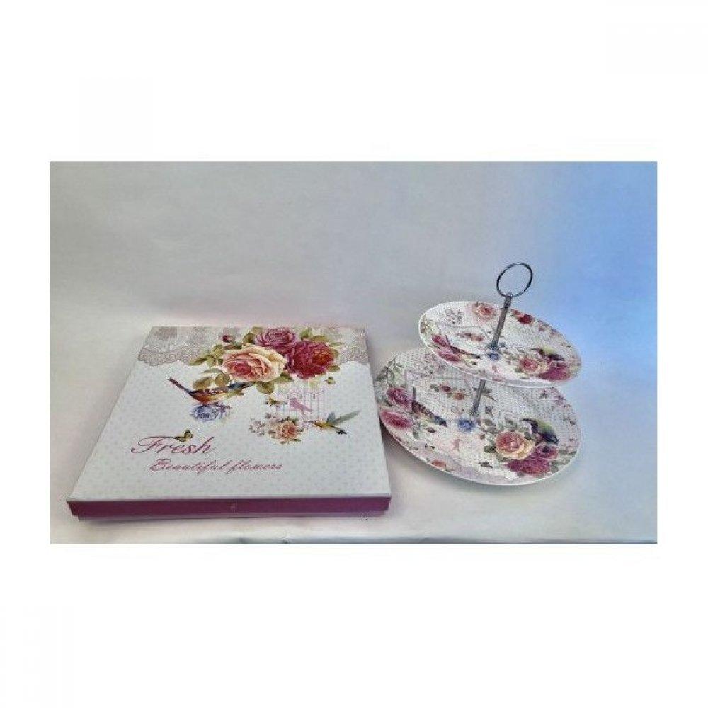 Fructiera Cu 2 Etaje Ceramica Decor Cu Flori