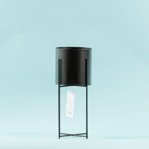 Ghiveci Cilindric Negru Cu Picior Metal Bs176