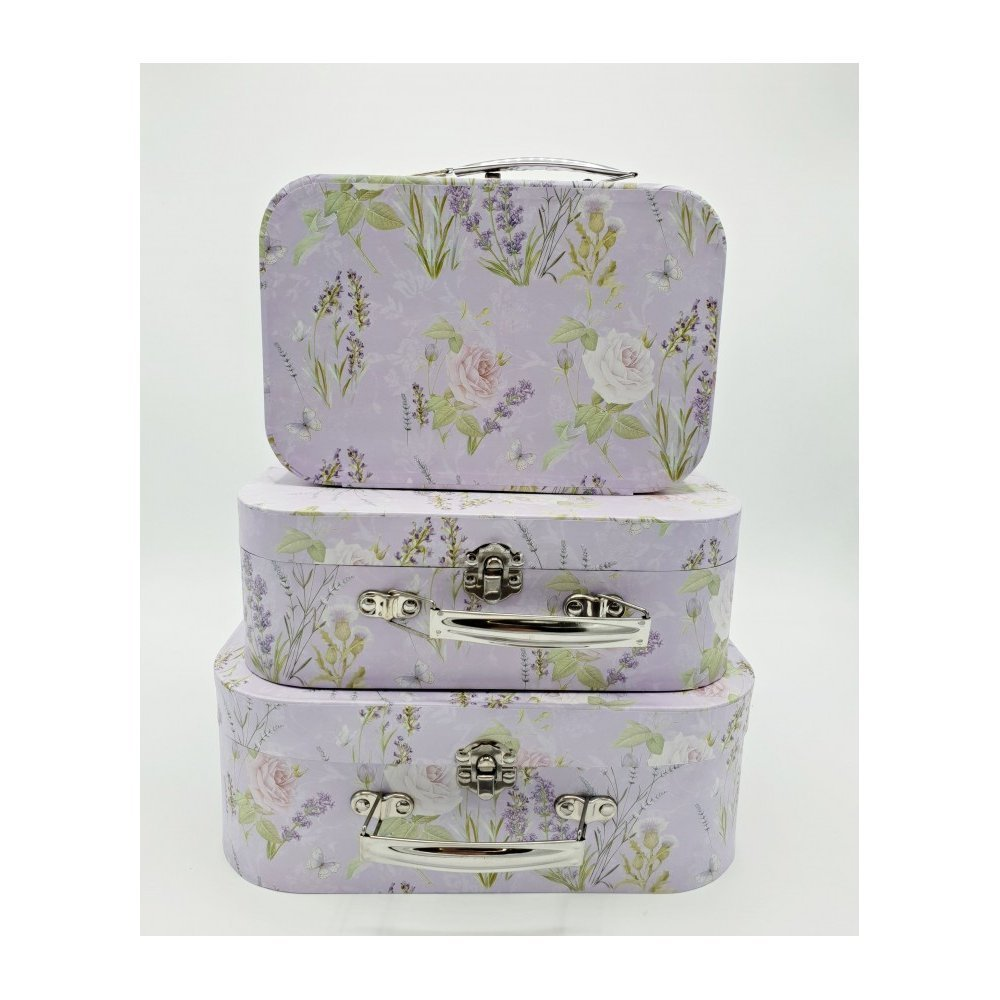 Cutii pentru flori model Geamantane mici set 3 Lavader