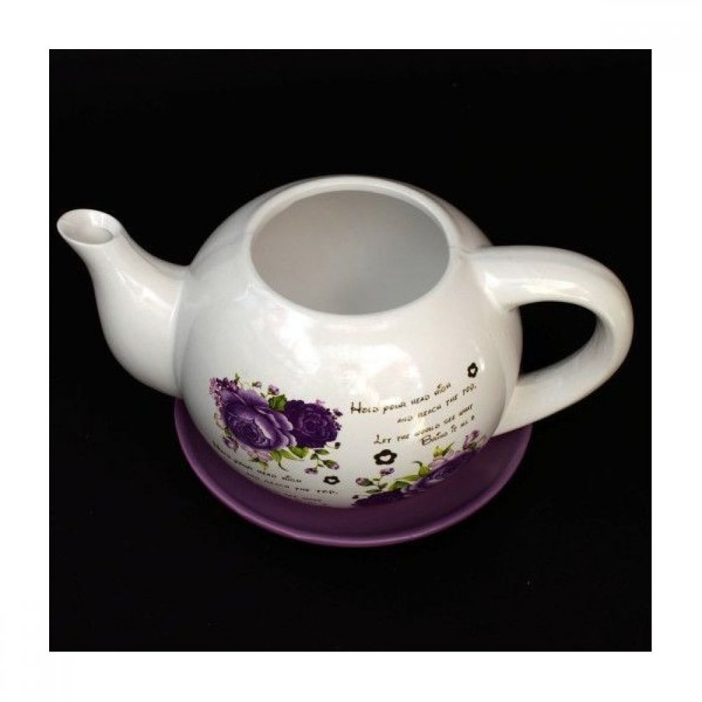 Ghiveci din Ceramica model Ceainic Cu Imprimeu Floral