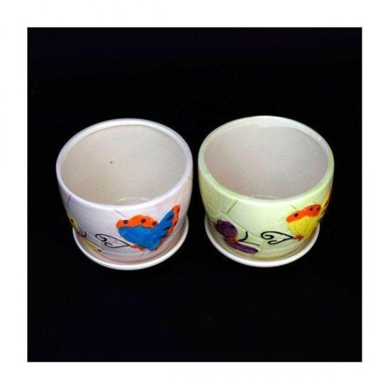Ghiveci Ceramica Cu Farfurie Fluture