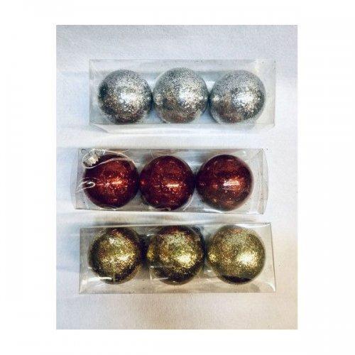 Globulete Pom Craciun Plastic 3/set Sclipici