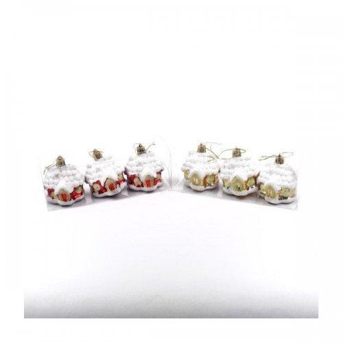 Globulete Pom Craciun plastic 3/set Casuta