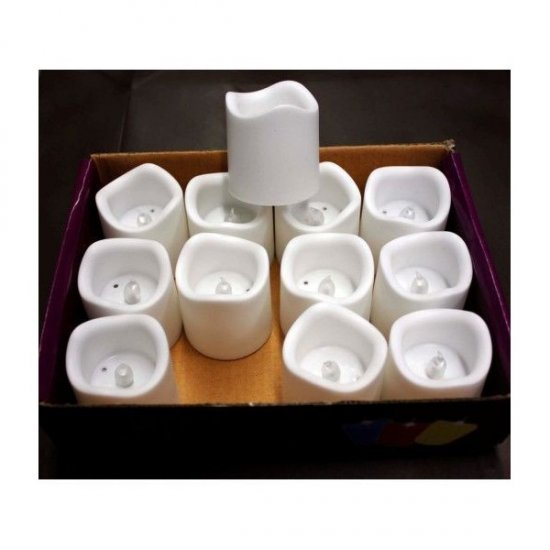 Lumanari Plastic Decorative Albe Cu Led 12/set