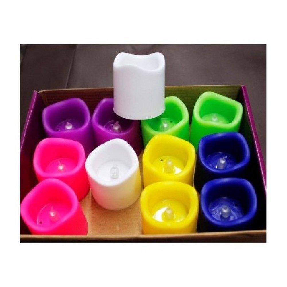 Lumanari Plastic Decorative Color Cu Led 12/set