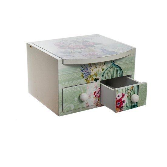 Mini Cutie pentru depozitare bijuterii cu 2 sertare si oglinda