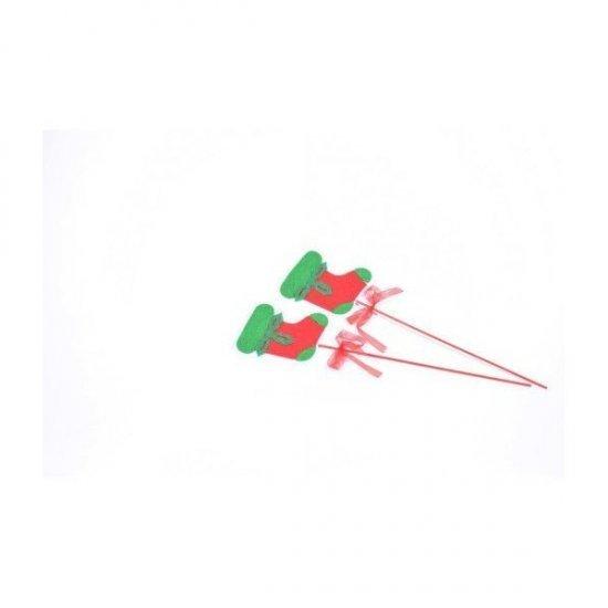 Ornament Craciun Cizma Mos Textil Cu Bat 12/Set