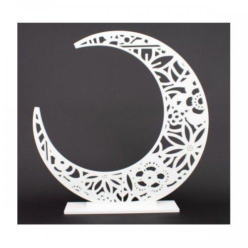 Ornament Din Plastic Luna Mare Perforata Alba
