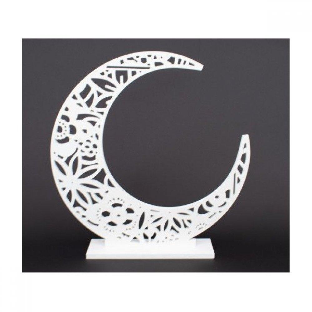 Ornament Din Plastic Luna Perforata Alba Mica