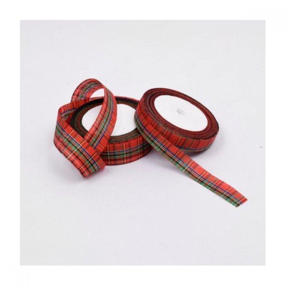 Panglica Bumbac Cu Imprimeu Festiv Rosu Cu Verde 1.5cm/22
