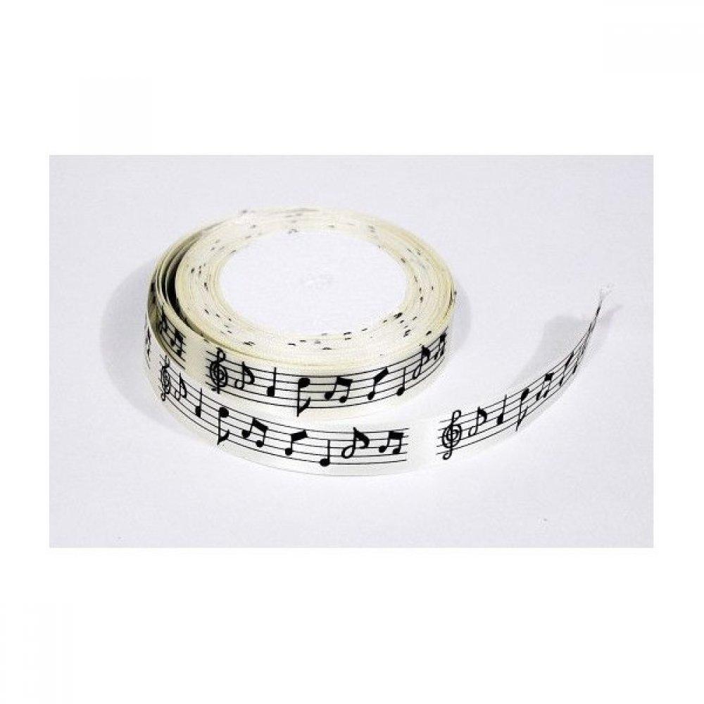 Panglica Saten Note Muzicale 2cm