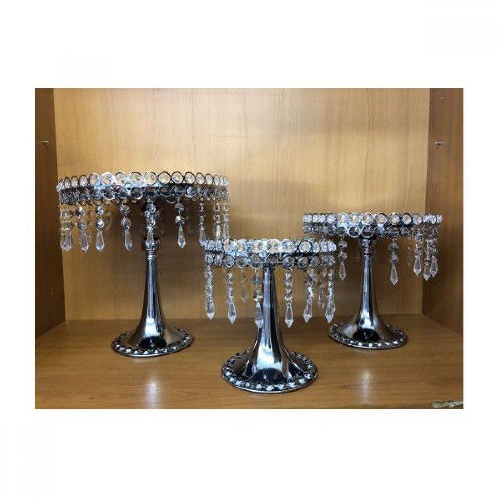 Platou Metal Cu Turturi Plastic 3/set Argintiu
