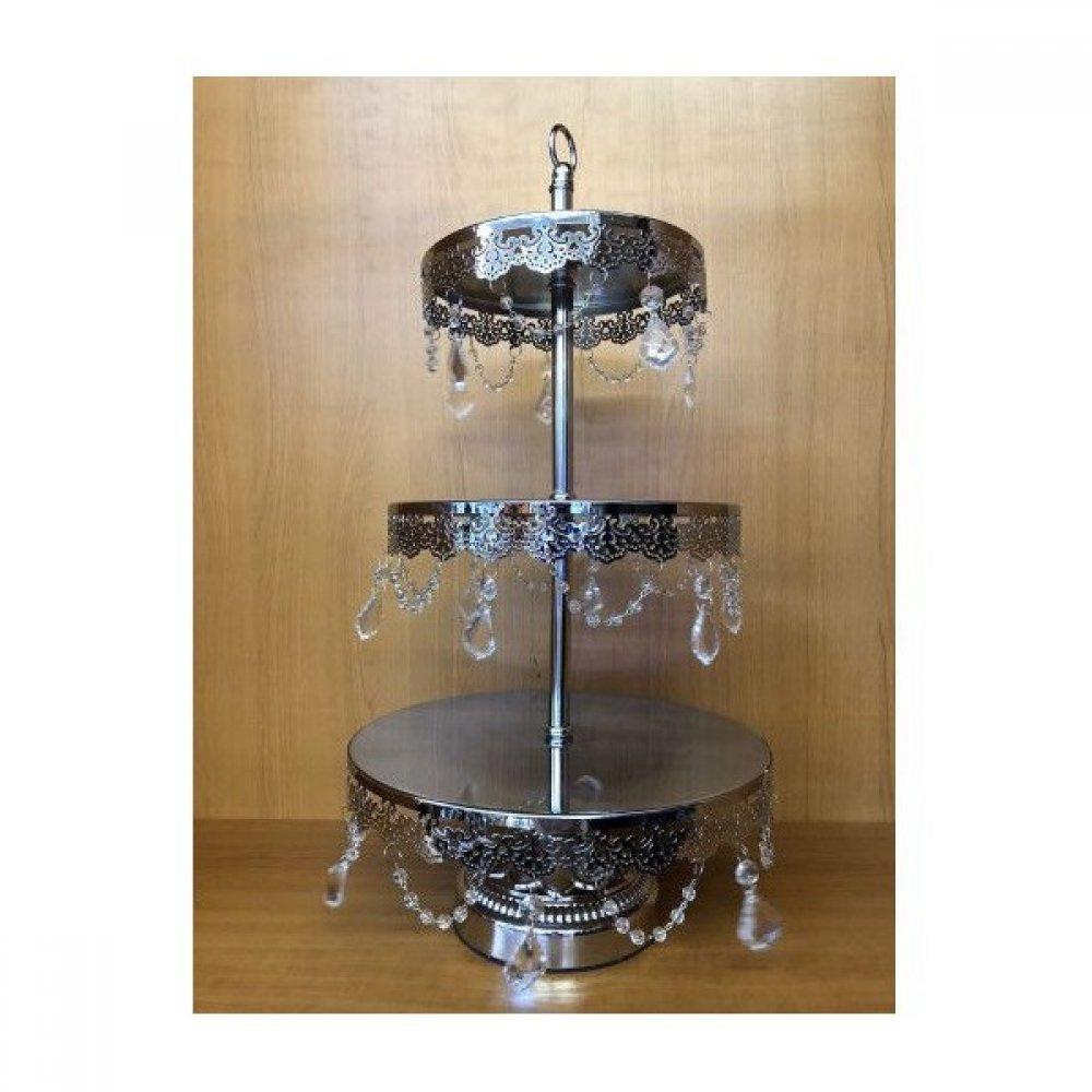 Platou Metal Pentru Prajituri Cu 3 Etaje Argintiu