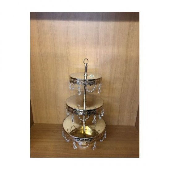 Platou Metal Pentru Prajituri Cu 3 Etaje Auriu