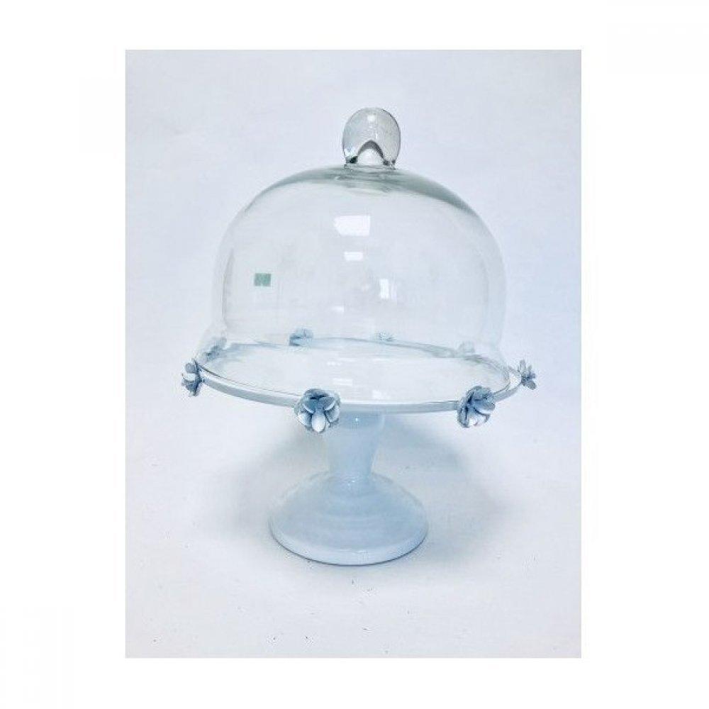 Platou Metal Pentru Prajituri diametrul 25cm Alb Cu Capac De Sticla
