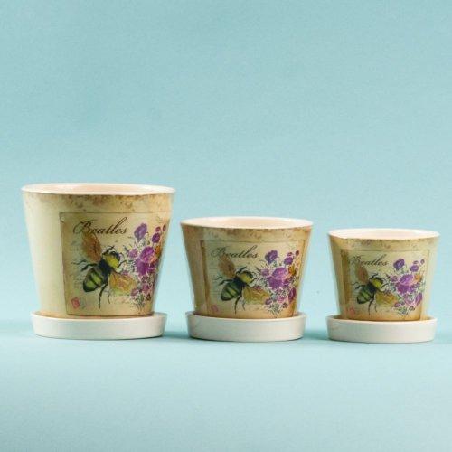 Set 3 Ghivece Ceramica Cu Farfurie Bg100