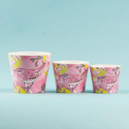 Set 3 Ghivece Ceramica Pasari Roz Bg99