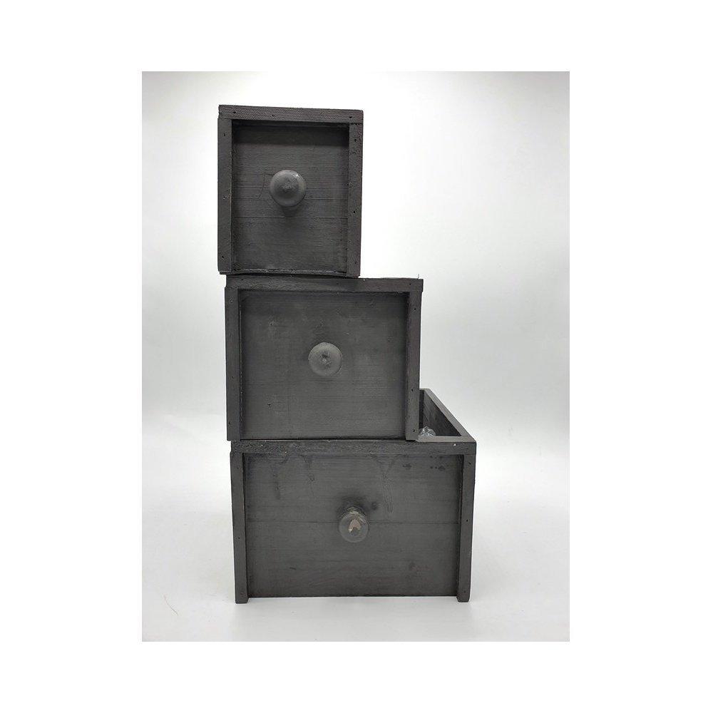Cutii pentru flori sertare gri lemn set 3 Modern Black